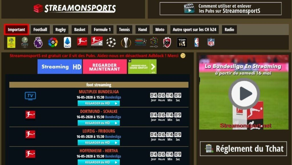 Stream On Sports : regarder un match de foot en live gratuitement